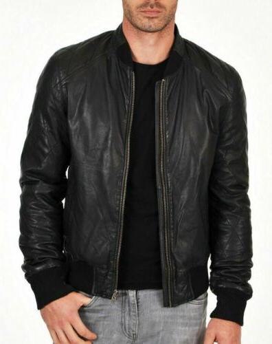 Mens Bomber Varsity 100 Real Sheep skin Lamb
