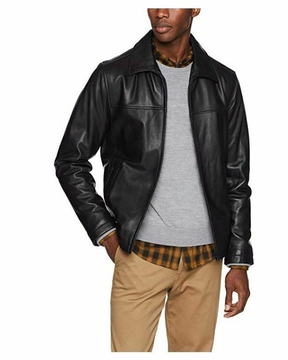 Tommy Hilfiger Mens Classic Leather Jacket With Shirt Collar