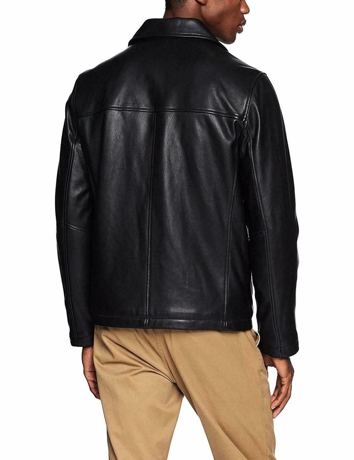 Tommy Hilfiger Mens Leather Jacket With Shirt Collar Black 153A2850
