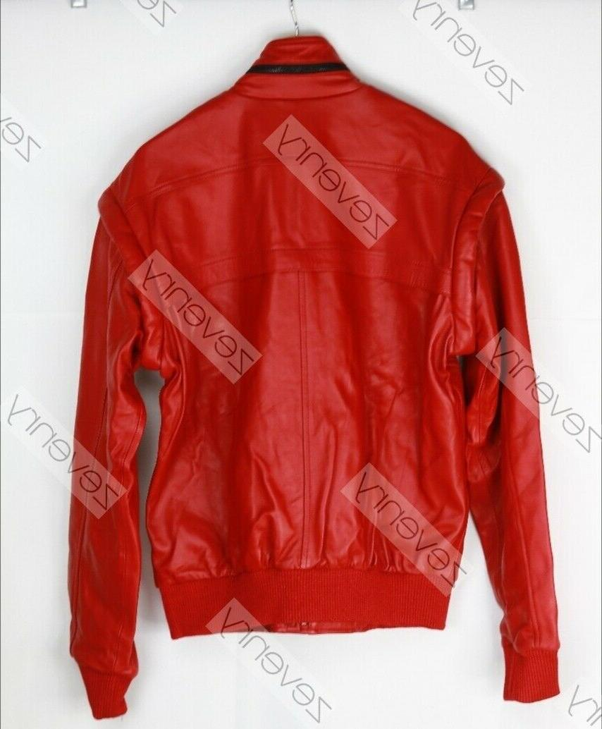 Mens Karate Red Leather Jacket