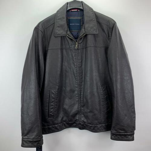 mens faux leather bomber jacket brown 2xl