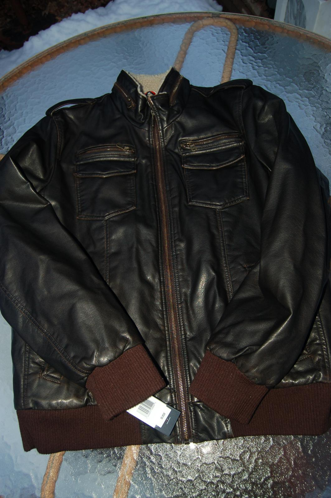 Tommy Mens Faux Leather Military Bomber