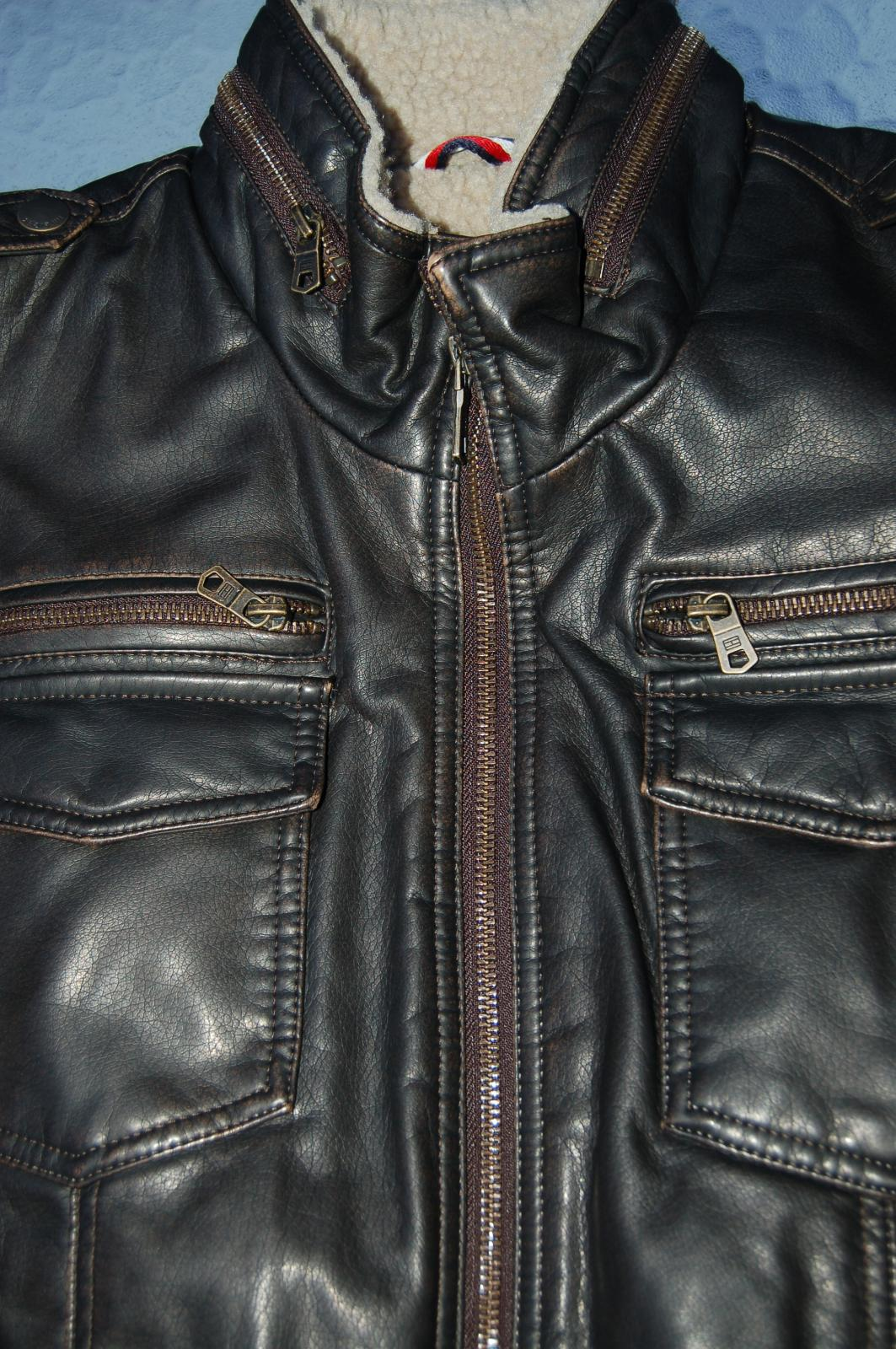 mens faux leather military bomber jacket