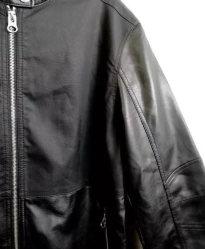 Kenneth Mens Faux Leather Moto Jacket Size