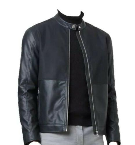 mens faux leather moto jacket size small