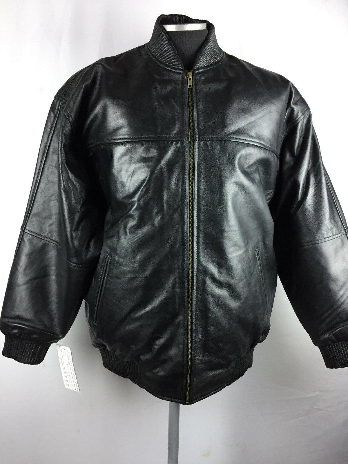 MENS GENUINE LAMBSKIN LEATHER BASEBALL JACKET BOMBER BLACK M