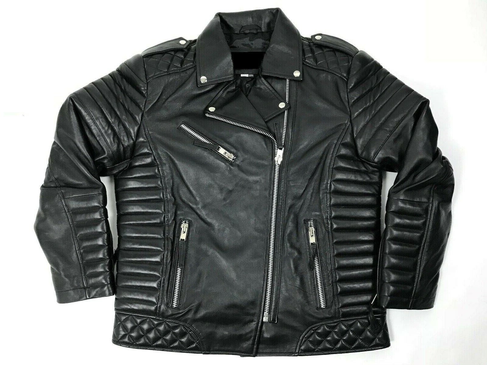 MENS GENUINE LAMBSKIN LEATHER BIKER JACKET MOTORCYCLE BLACK