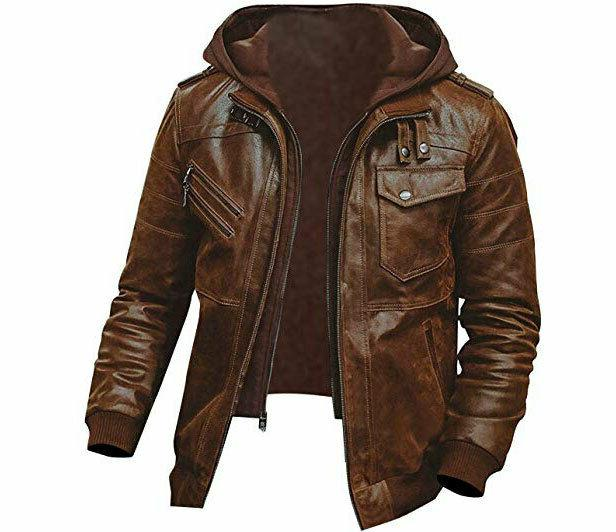 mens genuine leather jacket slim fit real