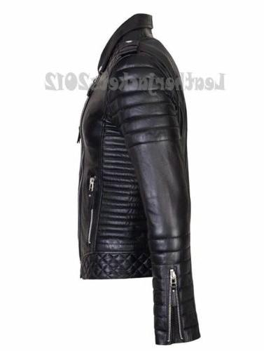 MENS GENUINE LEATHER SLIM REAL BIKER NEW VINTAGE