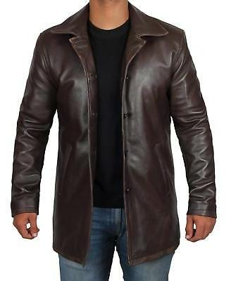 mens leather coat distressed leather jacket men
