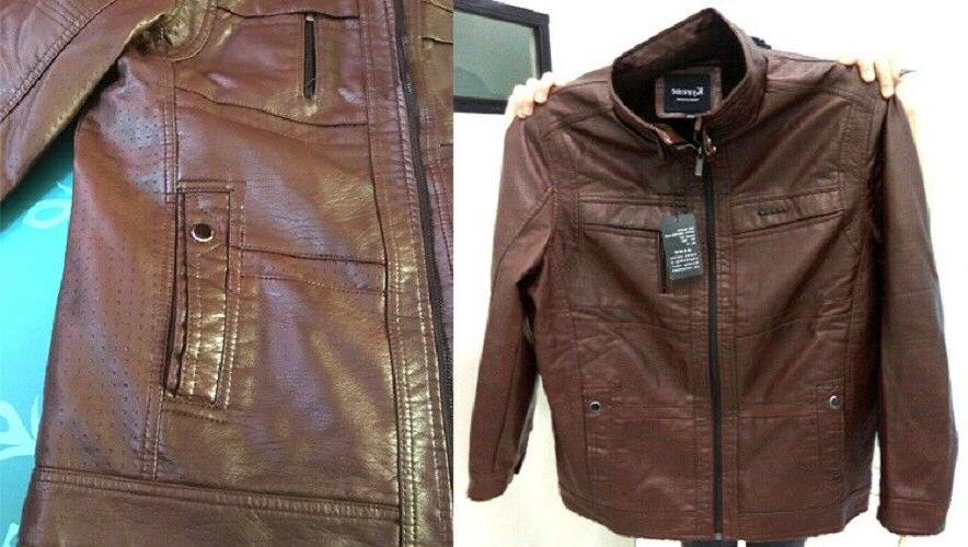 Mens Leather PU Coat Faux Sweater Puffer