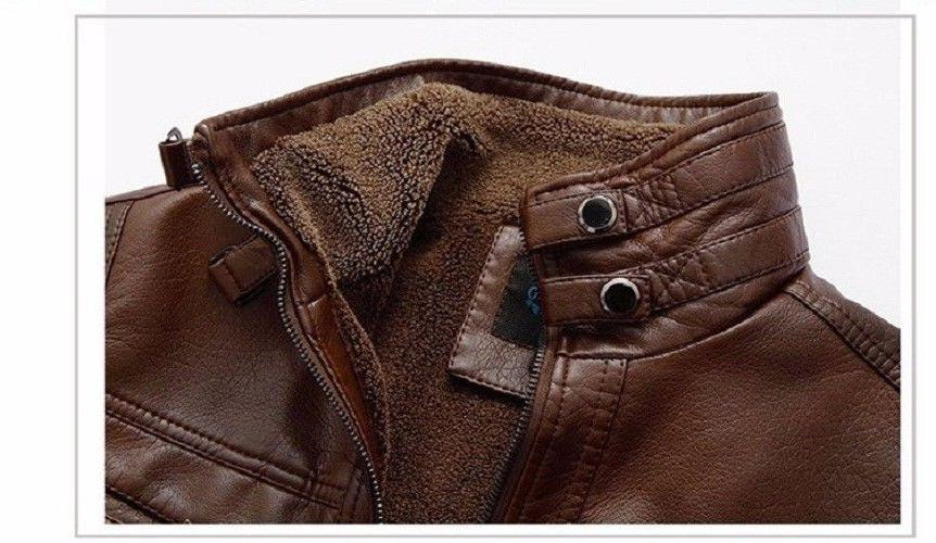 Mens Leather Jacket Coat Sweater for