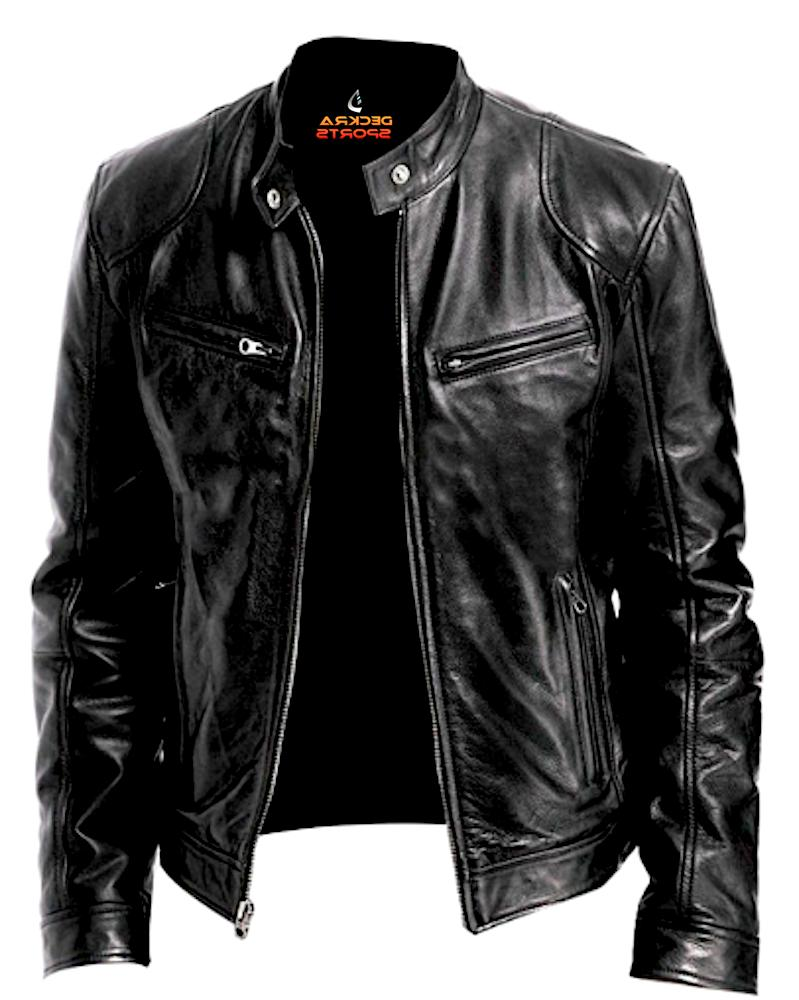 mens leather jacket real genuine cowhide leather