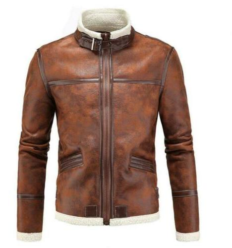 Mens Leather Jacket Stand Collar Zipper Winter Warm aowofs C