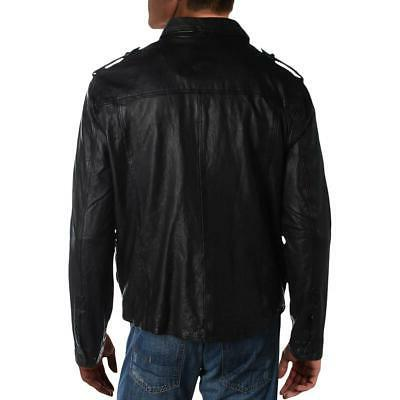 Kenneth Cole York Mens Leather Bomber Outerwear 2780