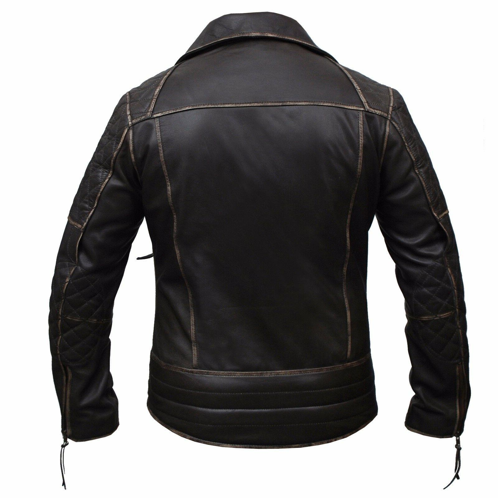 Mens Brando Motorcycle Vintage Brown Leather Jacket