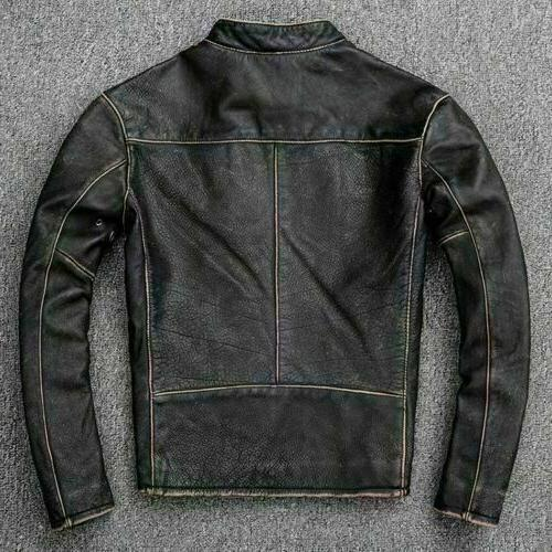 Men's Biker Distressed Black Faded Cow Leather