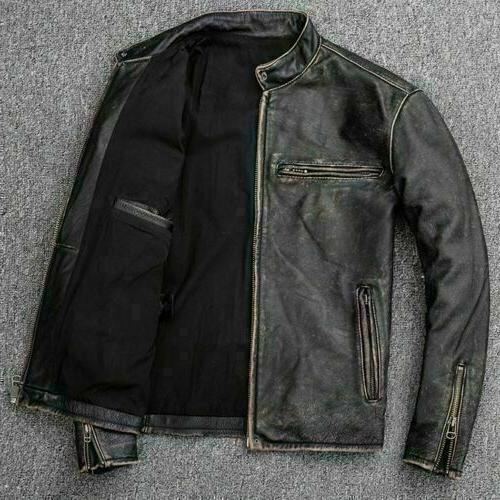 Men's Motorcycle Distressed Cow