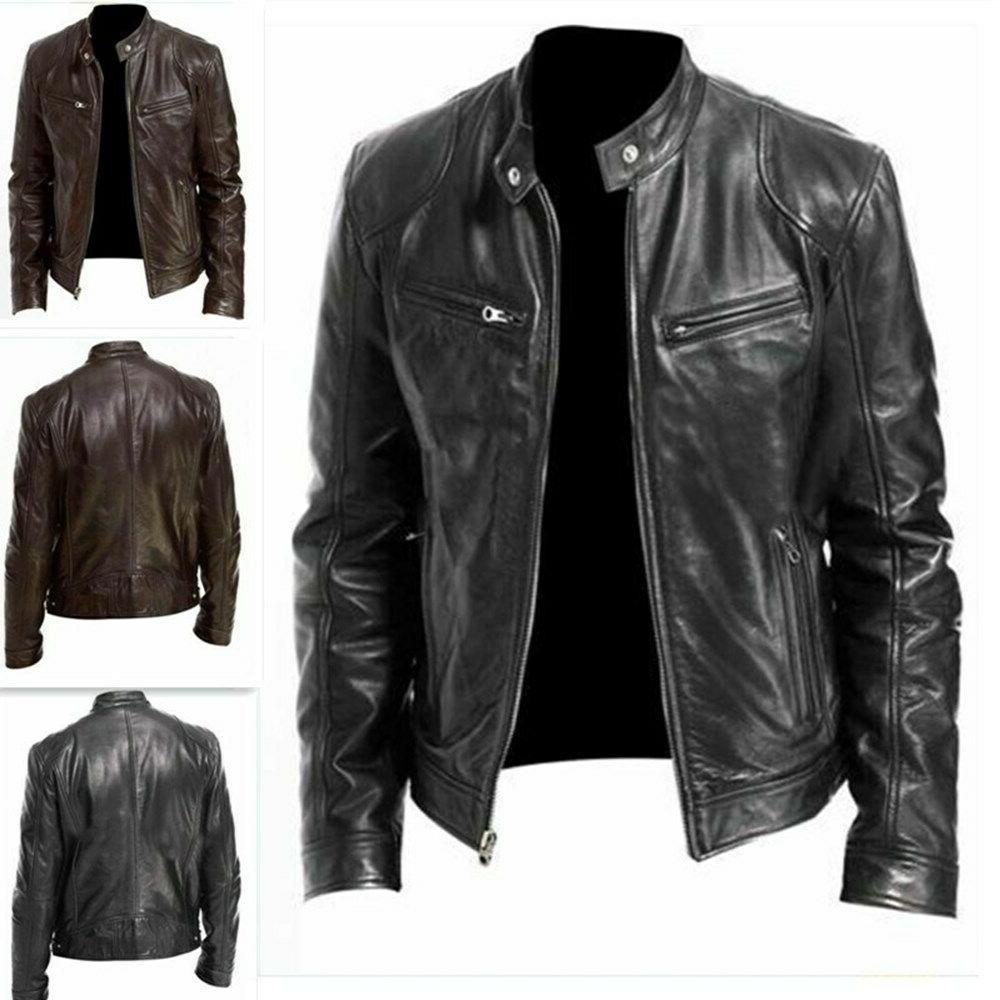 mens motorcycle broadcloth leather jacket coat stand