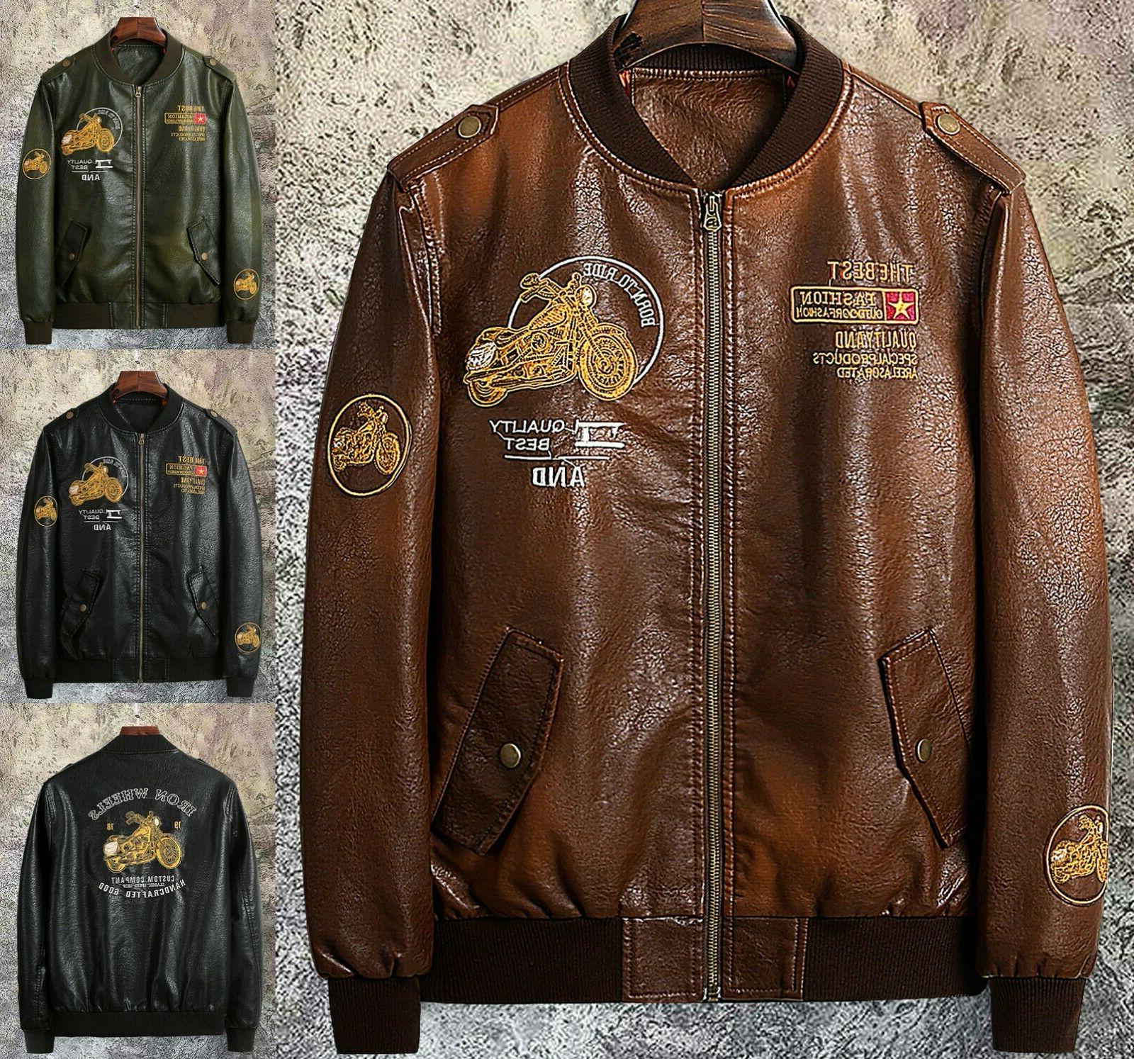 mens outerwear motorcycle leather baseball ride jacket