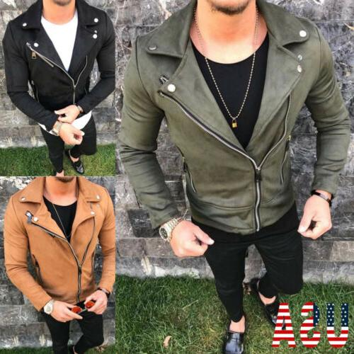 Mens Slim Fit Jackets Biker Jacket Motorcycle Outwears