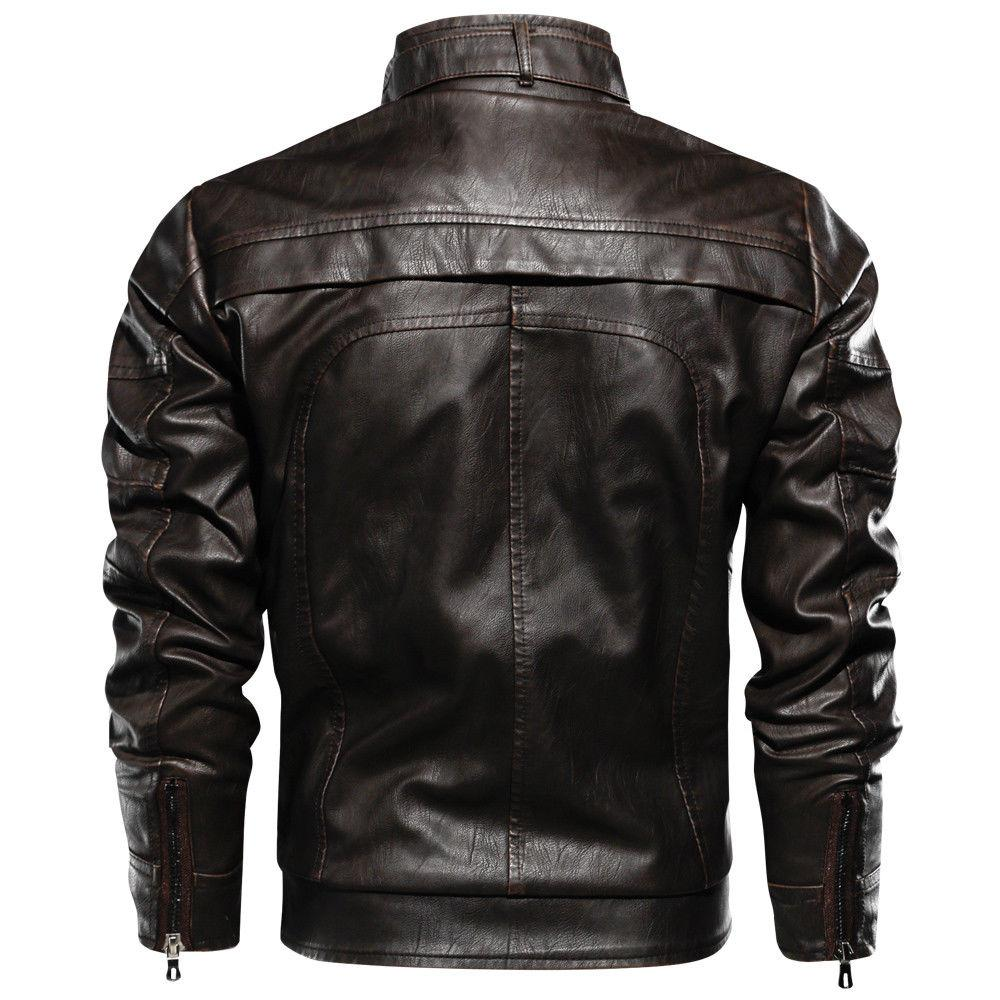 TACVASEN Mens Leather Jacket Bomber Motorcycle