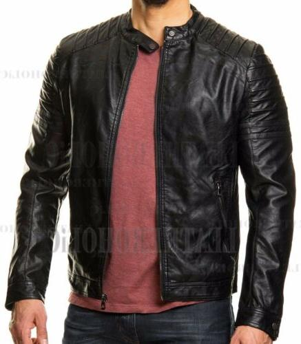 MENS BLACK LEATHER JACKET SLIM REAL