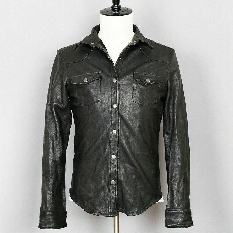 mens vintage black leather shirt jacket casual