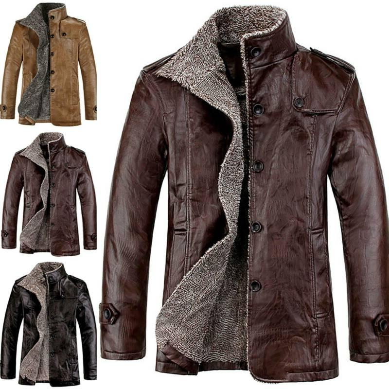 Mens Faux Leather Jackets Winter Casual Stand Collar Fleece