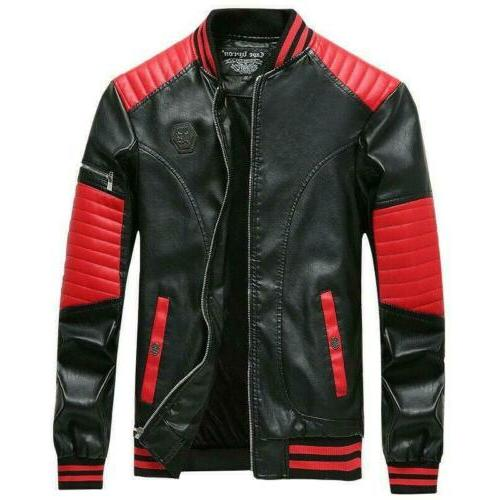 Motorcycle Men's Faux Leather Jacket Coat Baseball Slim Fit