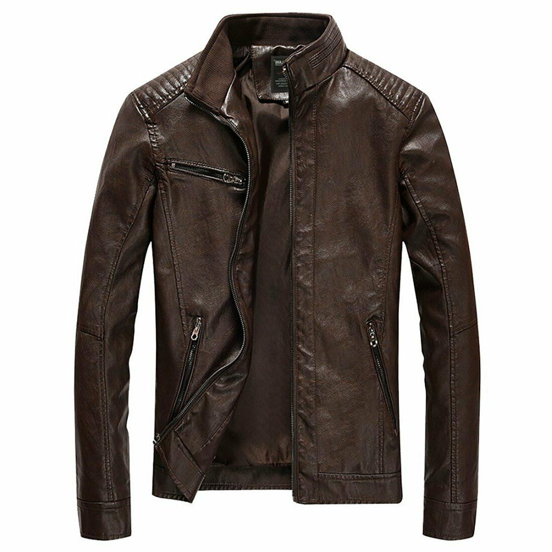 Nantersan Leather Stand Collar PU Mens Faux Fur Coats Motorcycle