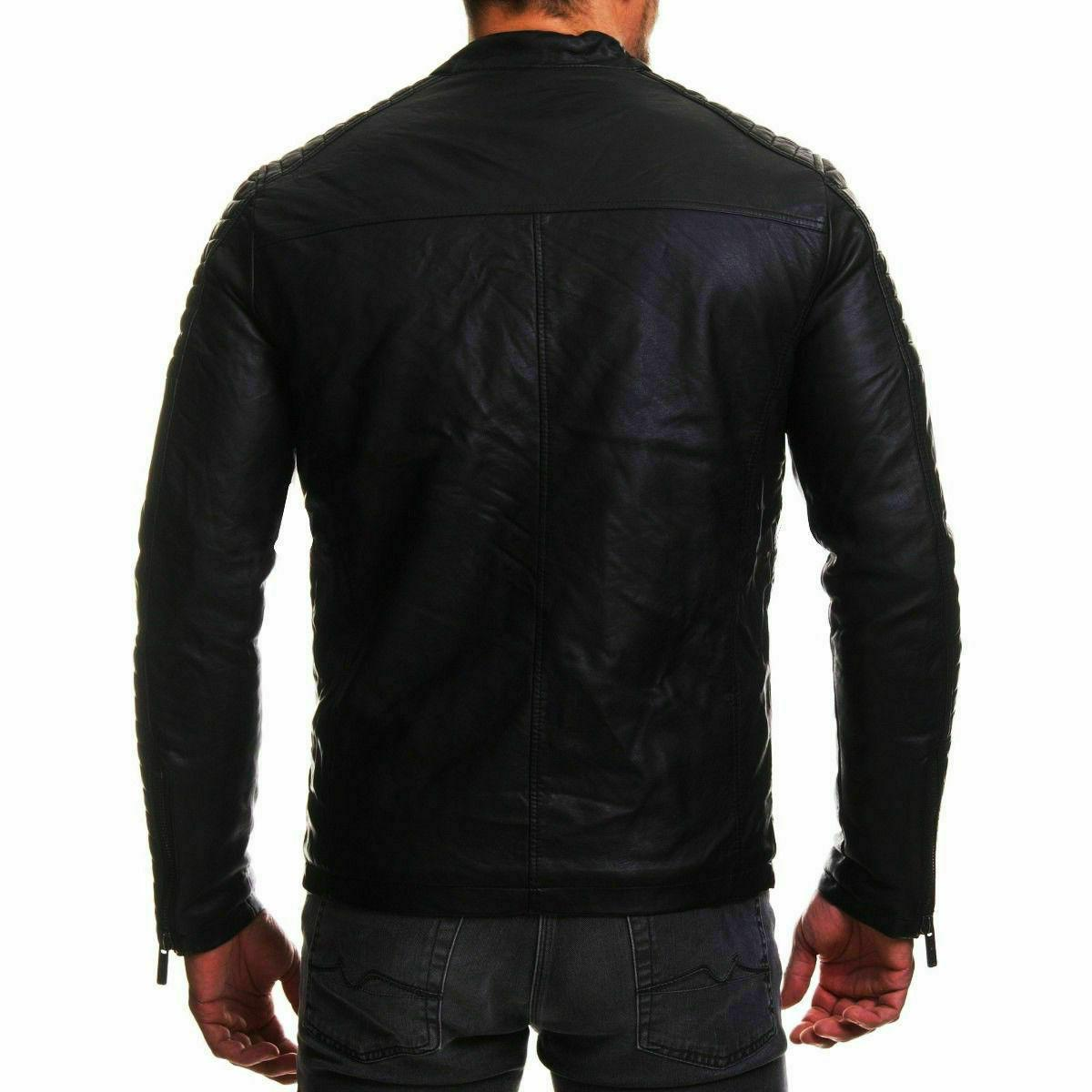 New 100% Leather Jacket Coat Men Slim Outwear Black Biker Moto