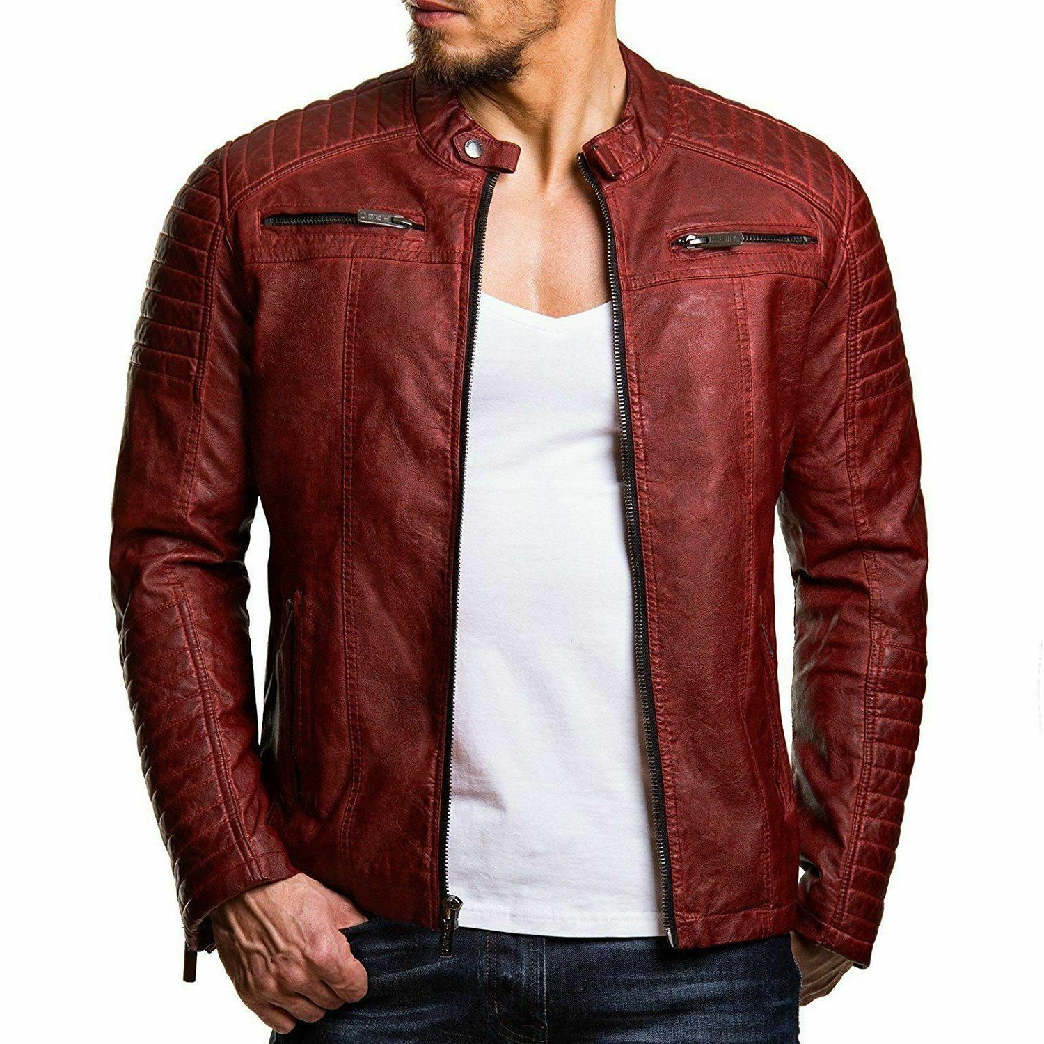 New Leather Coat Outwear Biker Jacket