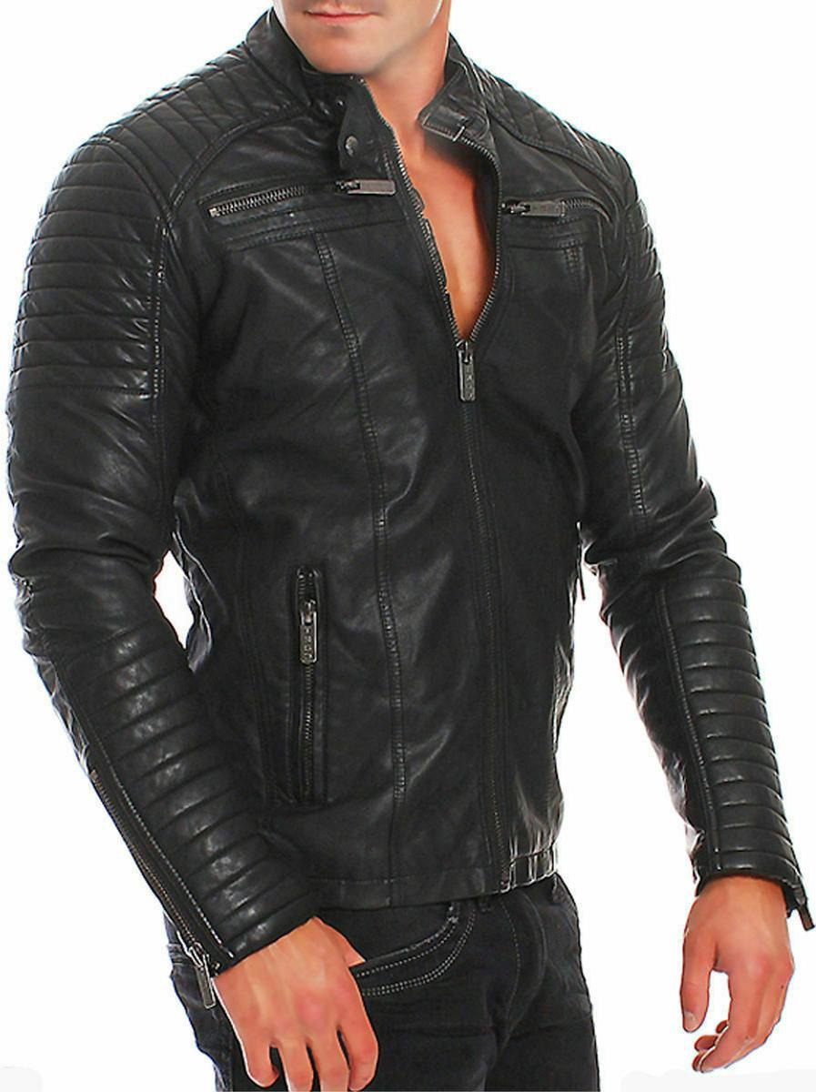 New Leather Jacket Coat Men Slim Outwear Black Jacket