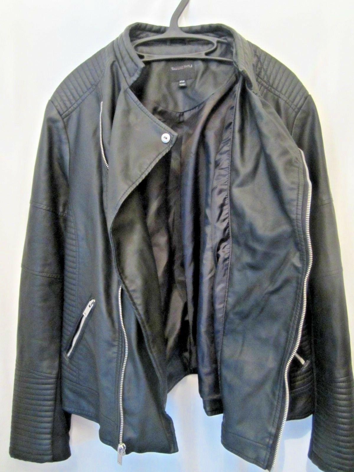 New BRYANT $120 Black Seamed Quilted Leather Moto Jacket Plus 22/24