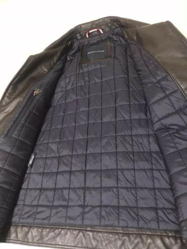 New Brown Leather Tommy Hilfiger Large Zip Lined