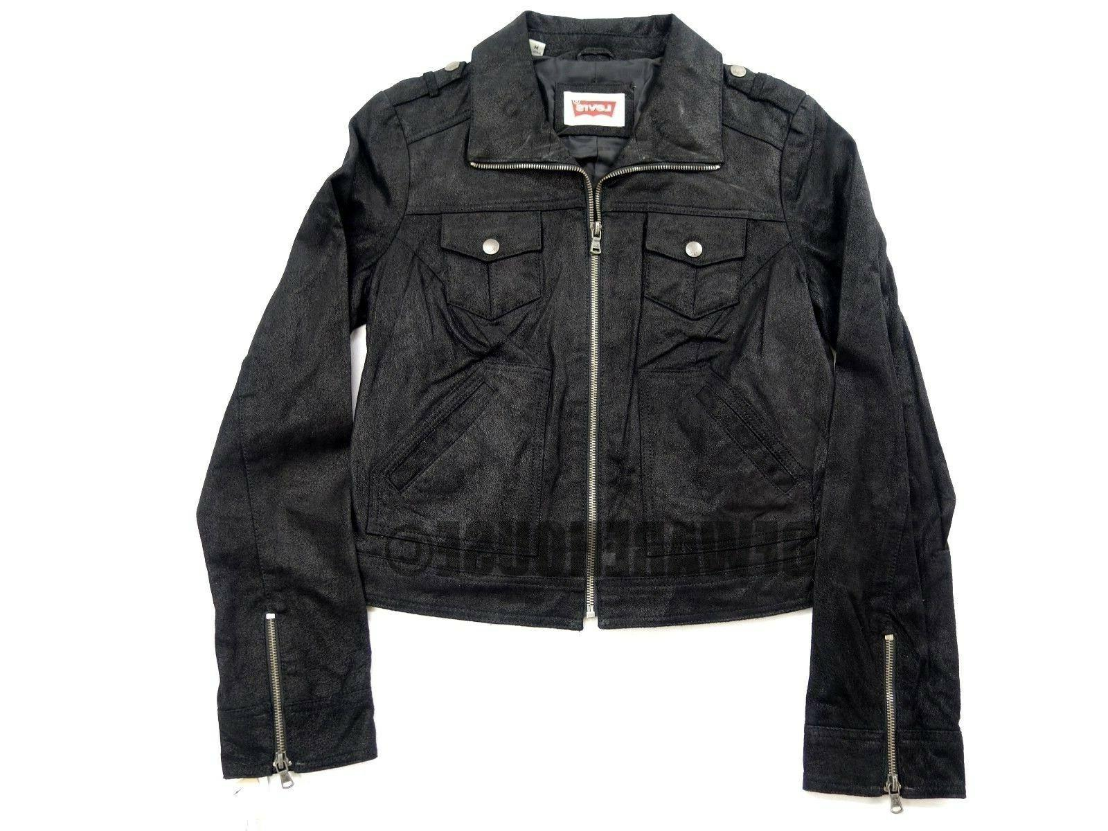 New Levi's Women's Motorcycle Cropped Leather Jacket Petite