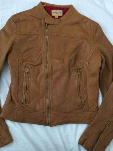 New Levis Quality Craft Italy Lamb Camel Leather Moto Biker