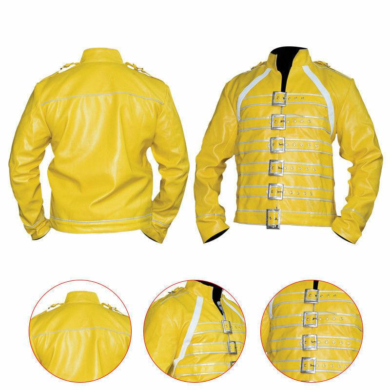 New Men's Wembley Yellow Jacket Faux Leather