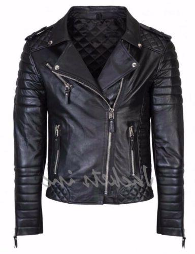 New Genuine Lambskin Leather & BROWN Slim Biker jacket