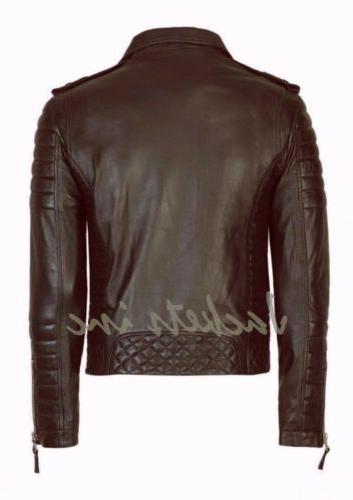 New Lambskin Leather Jacket BLACK BROWN fit jacket