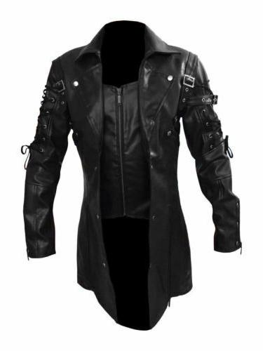 Faux Trench Jacket Goth Punk