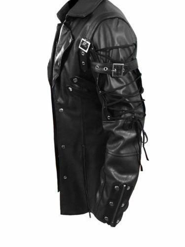 Faux Leather Trench Jacket Goth