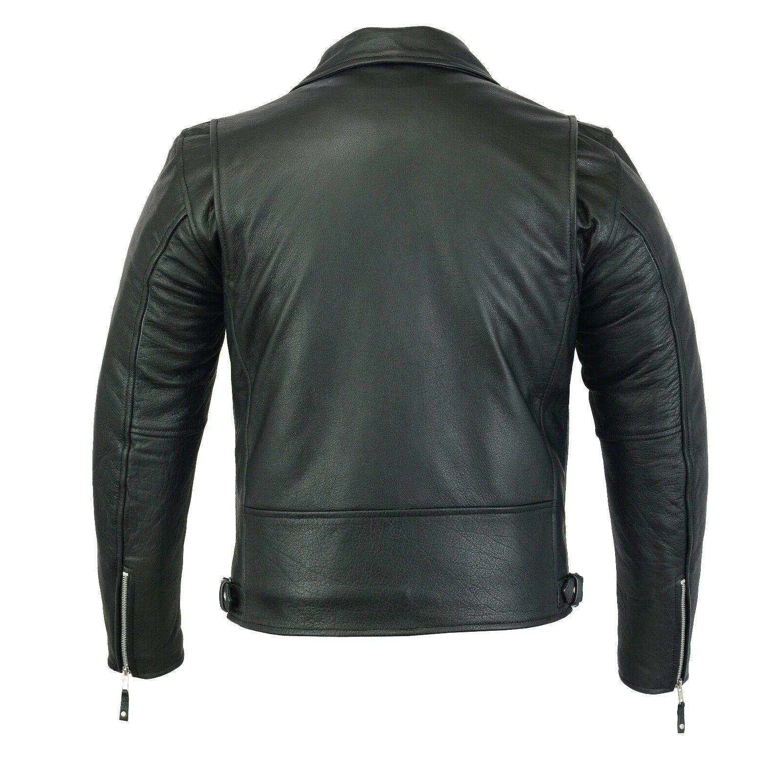 New Mens Black Coat Biker ZipOut