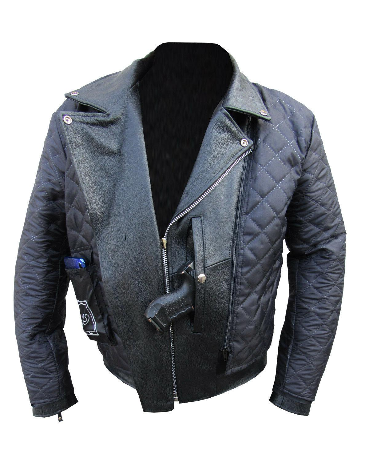 New Cowhide Leather Motorcycle Coat ZipOut