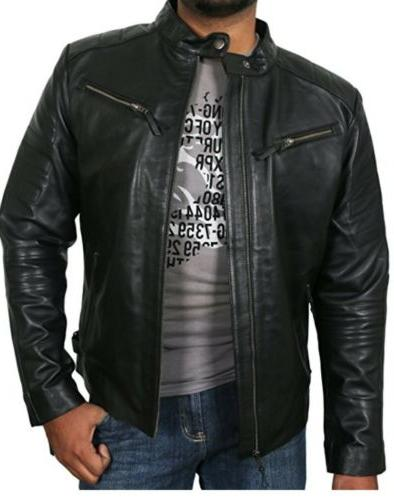 new mens black genuine lambskin leather jacket