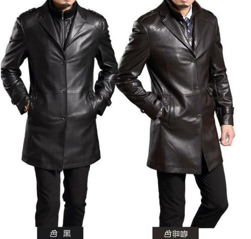 New Mens Faux Leather Lapel Trench Coats Jackets Mid Long Le