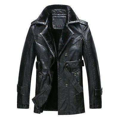 New Winter Leather Faux Warm Jackets Overcoat