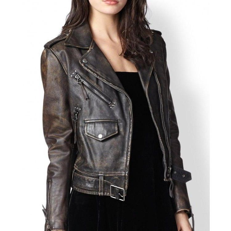 New Women Moto Biker Vintage Real