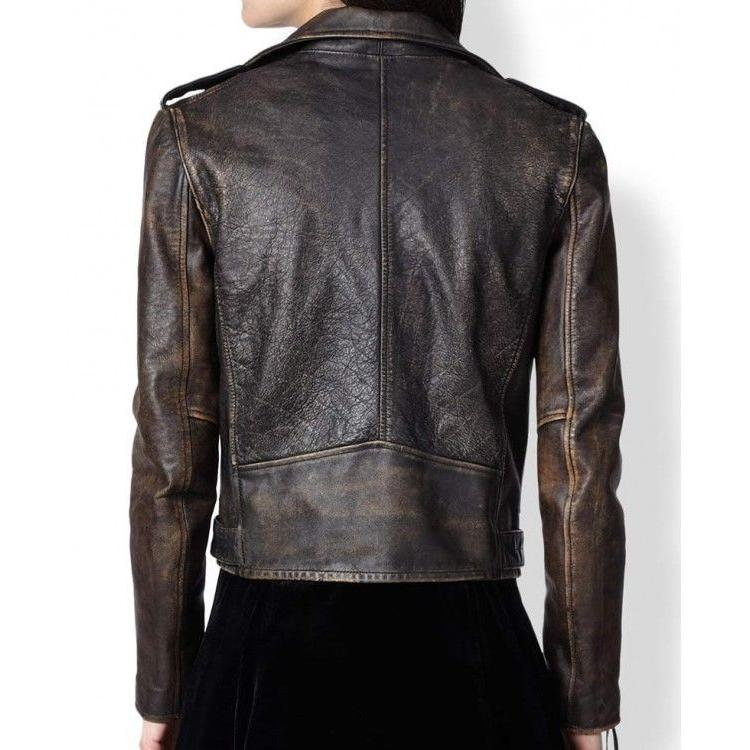 New Cafe Moto Biker Distressed Vintage Leather Jacket